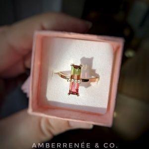 Jewelry - 14k Watermelon Tourmaline Elongated Emerald Cut